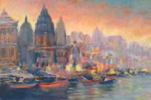 S. Rubel, Riverside View of the City, Oil/Canvas
