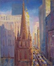 S. Rubel, Trinity Church, Oil on Canvas