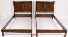 Pr of Tudor Style Carved Oak Paneled Twin Beds