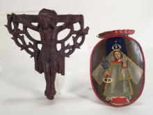 Bronze Crucifix & Tole Processional Candle Holder