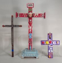 Three Spanish Colonial Folk Art Crosses,19th/20th
