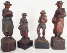 4 Tyrolean Folk Art Carvings, early 20th C.