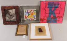 Five framed items, 20th cent.