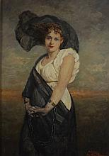 Marie Weger, 1882-1980, Portrait of Woman in Black Veil
