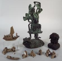 Asian Bronze & Group of Small Clay Figures, 20th C.