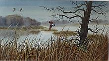 Doris Olson Mina-Mora, Sunset with Geese, 20th C.