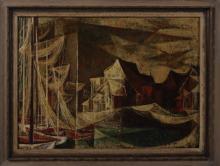 Si Lewen, Fishing Village, mid-19th C., oil on board