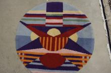 Hooked Rug with Bold Geometric Patterns, 20th century