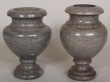 Near Pair of Large Polished Granite Urns