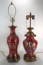 2 Chinese Red Porcelain Vase Lamps, 19th/20th C.
