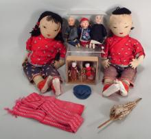 6 Asian Dolls, 20th C.