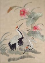 Two Asian Embroideries on Silk, 20th C.