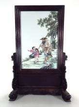Chinese Porcelain Plaque Table Screen, 20th C.