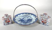 Pr. of Tea Caddies and Plate, Dutch, 18th/19th c