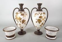 Pair of Davenport Urns, English, 19th C.