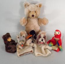 Vintage Steiff Bear and 5 Finger Puppets