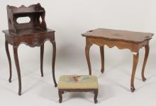Two small tables and foot stool, 19th and 20th C.