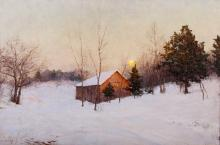 Walter Launt Palmer, Am., Red Barn in Winter, O/C