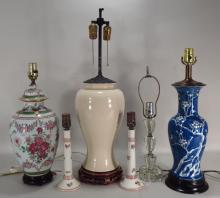 Group of 5 Glass/Porcelain Lamps,20th