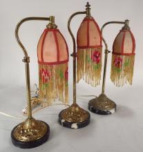 Three Gilt Bronze Boudoir Lamps, Am, 20th C.