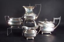 4 pc Sterling Silver Tea Set, English 20th C