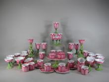 Set of 52 Pieces of Pink and Green Pottery