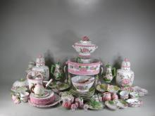 Group of 84 Pink, Green and White Pottery Pieces