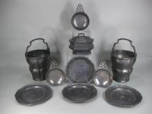 8 Pewter Articles, Continental, 19th C.