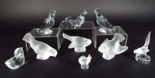 9 Glass Birds, Incl. Lalique and Baccarat