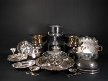 32 Silverplate and Silver Serving Items: Buckets, Pitcher etc