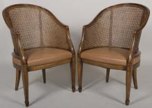 Pair of Caned Barrel-Back Leather Seated Chairs