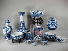 13 Asian Blue and White Porcelain Objects