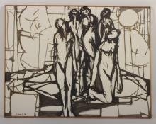 Arnold Weber, Five Figures Outlined in Black, oc