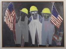 Arnold Weber, Hard Hats with Flags, o/c