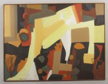 Arnold Weber, Abstract in Yellow and Orange, o/c