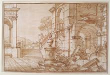 18th c. Italian Sch. Architectural Study, ink and wash
