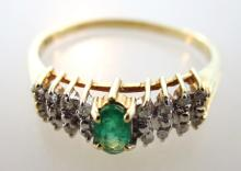 10K Gold Ring with Emerald and Diamonds