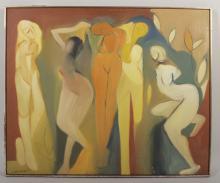 Arnold Weber, Five Female Nudes, o/c