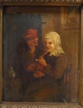 Likely Dutch, 18th century, 2 Peasants in an Interior