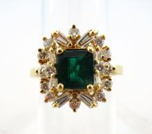 Emerald and Diamond 18k Ring