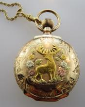 14 kt 3 Color Gold Pocket Watch and Chain
