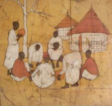 African School, Contemporary, Painting on Fabric