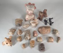 Group of Precolumbian heads and Vessel Fragments