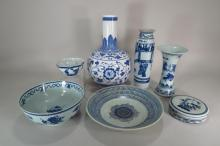 7 Chinese Blue and White Porcelain Vessels