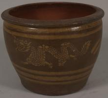 Asian Brown And Tan Ceramic Jardiniere, 20th C.