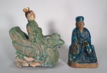 2 Roof Tile Pottery Figures