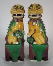 Pair of Chinese Porcelain Foo Dogs, early 20th C.