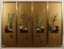 4 Asian Panels, with Hardstones as 1 Unit
