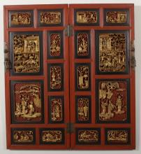 Pair of Carved Wood Asian Figural Panels