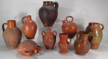 9 Glazed Terracotta Vessels: Vases, Jugs, 20th c.